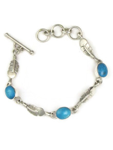 Sleeping Beauty Turquoise Silver Feather Link Bracelet by Lyle Piaso (BR6062)