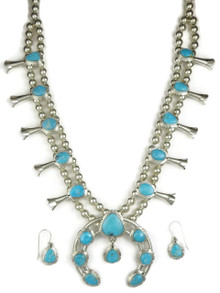 Kingman Turquoise Squash Blossom Necklace Set by Evelyn Bahe