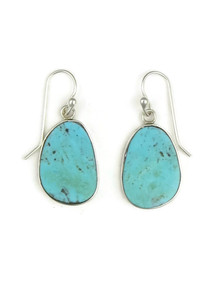 Silver Turquoise Slab Earrings by Ronald Chavez (ER4086)