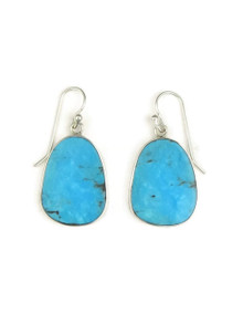 Silver Turquoise Slab Earrings by Ronald Chavez (ER4087)