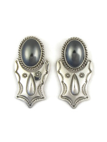 Silver Hematite Dangle Earrings by Fritson Toledo