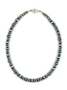 Turquoise Silver Bead Necklace 18""