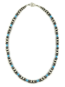 Turquoise Silver Bead Necklace 20""