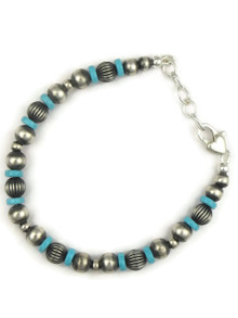 Turquoise Silver Bead Bracelet (BR6063)