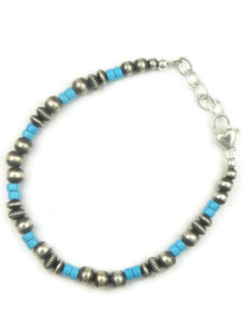 Turquoise & Silver Bead Bracelet (BR6064)