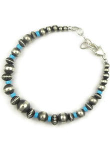 Turquoise Silver Bead Bracelet (BR6065)