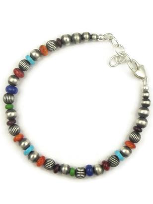 Multi Gemstone Silver Bead Bracelet (BR6066)