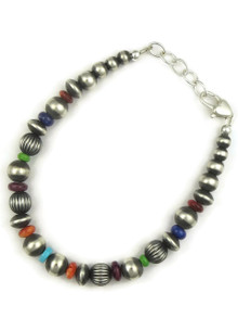 Multi Gemstone Silver Bead Bracelet (BR6067)