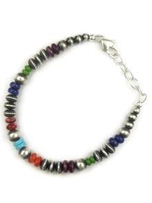 Multi Gemstone Silver Bead Bracelet (BR6068)