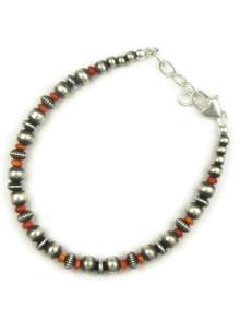 Spiny Oyster Shell Silver Bead Bracelet (BR6069)