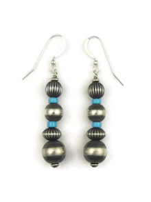 Turquoise Silver Bead Earrings