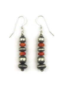 Spiny Oyster Shell Silver Bead Earrings (ER4096)