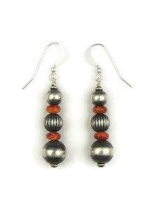Spiny Oyster Shell Silver Bead Earrings (ER4097)