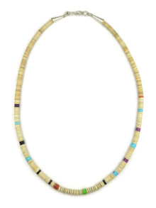 Clam Shell & Gemstone Heishi Necklace 19""
