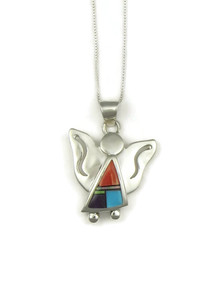 Multi Gemstone Inlay Angel Pendant
