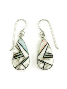 White Buffalo, Jet & Opal Inlay Earrings by Shirley Henry