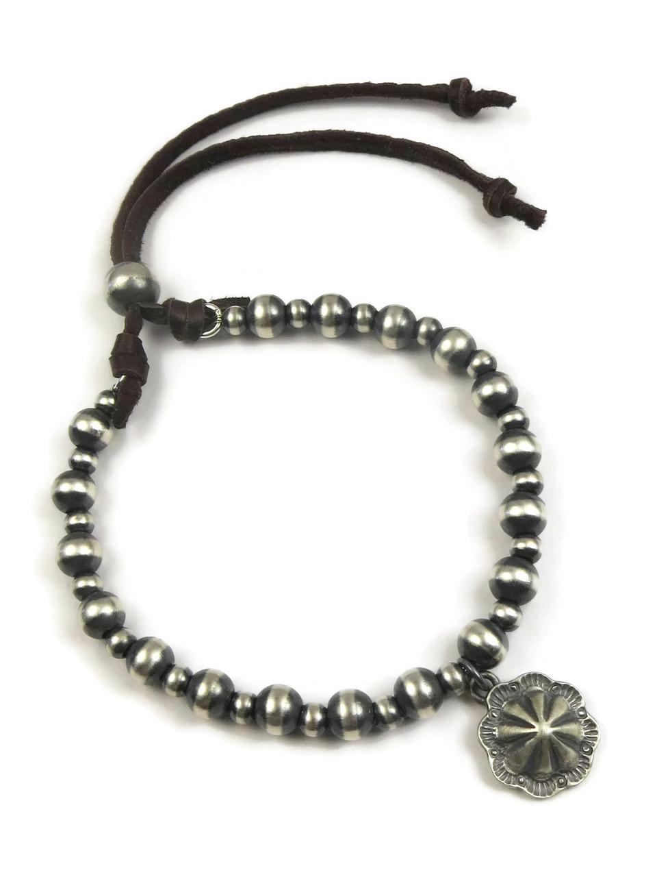 Silver Concho Bead Leather Bracelet
