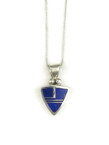 Silver Lapis Inlay Pendant by Ervin Hoskie (PD3868)