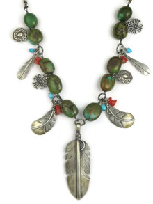 Turquoise Silver Feather Necklace (NK4610)