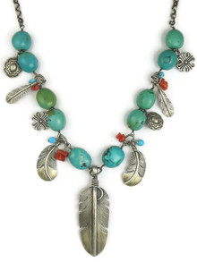 Turquoise Silver Feather Necklace (NK4611)