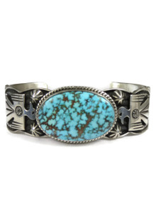 Spider Web Kingman Turquoise Bracelet by Andy Cadman (BR6091)