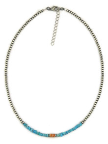 Turquoise, Spiny Oyster Shell Silver Bead Necklace