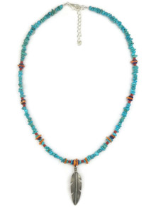 Turquoise & Gemstone Beaded Silver Feather Necklace (NK4502)