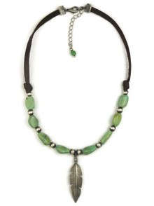 Turquoise & Leather Silver Feather Necklace (NK4503)