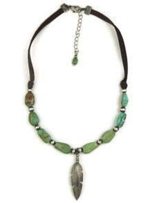 Turquoise Beaded Leather Silver Feather Necklace (NK4504)