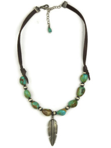 Turquoise Beaded Silver Feather Leather Necklace (NK4505)