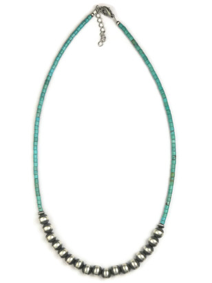 Turquoise Heishi Silver Bead Necklace by Gloria Tenorio