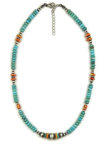 Turquoise & Spiny Oyster Shell Bead Necklace (NK4507)