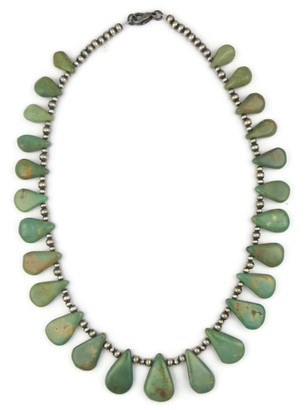Green Turquoise Tab Silver Bead Necklace 16 1/2""