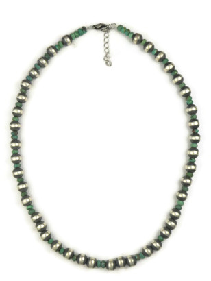 Faceted Turquoise Silver Bead Necklace