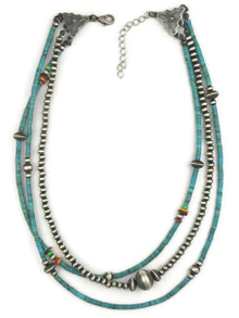 Three Strand Turquoise, Spiny Oyster Shell & Silver Bead Necklace (NK4510)