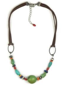 Turquoise, Gemstone Beaded Leather Necklace (NK4514)