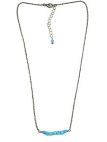 Small Turquoise Beaded Bar Necklace