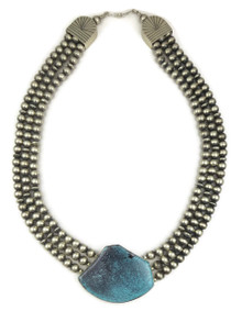Spider Web Turquoise Silver Bead Necklace by Raymond Delgarito