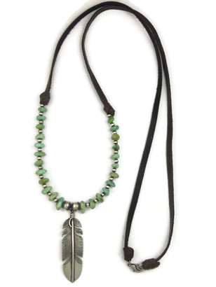 Long Turquoise Beaded Silver Feather Leather Necklace (NK4518)