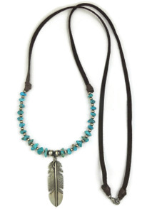 Long Turquoise Beaded Silver Feather Leather Necklace by Raymond Coriz (NK4519)