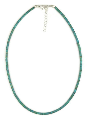 Turquoise Heishi Necklace with Extender by Gloria Tenorio