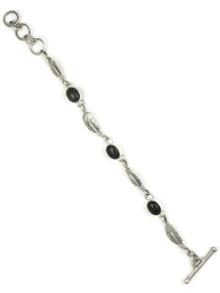 Onyx Silver Feather Link Bracelet by Lyle Piaso
