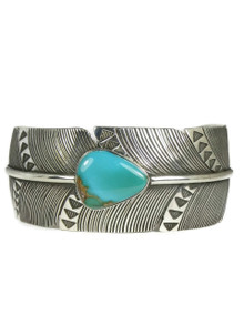 Royston Turquoise Silver Feather Bracelet by Raymond Coriz (BR6093)