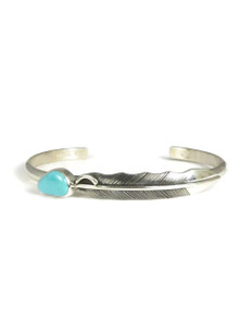 Royston Turquoise Silver Feather Bracelet (BR6094)