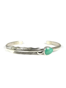 Royston Turquoise Silver Feather Bracelet (BR6095)