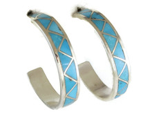 Turquoise Inlay Hoop Earrings by Tina Haloo