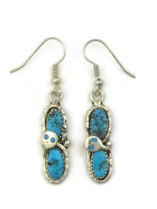 Silver Turquoise Snake Earrings by Zuni, Effie Calavaza (ER5081)