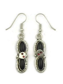 Onyx & Coral Snake Earrings by Zuni Effie Calavaza
