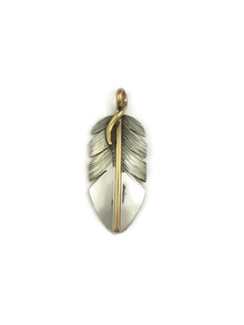 12k Gold & Sterling Silver Feather Pendant by Lena Platero (PD3929)