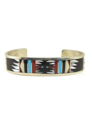 Geometric Gemstone Inlay Bracelet by Zuni Charlotte Dishta